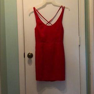 Red open back mini dress